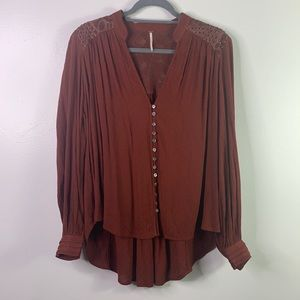 FREE PEOPLE Rust Long Sleeve Button Up Blouse S